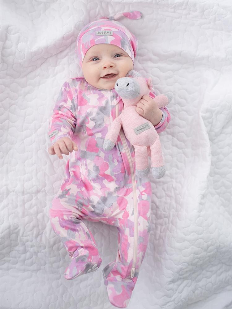 Juddlies - Camoose Bamboo Sleepsuit - Double Zip, Footed & Turnover Hand Cuffs - Pink - Stylemykid.com