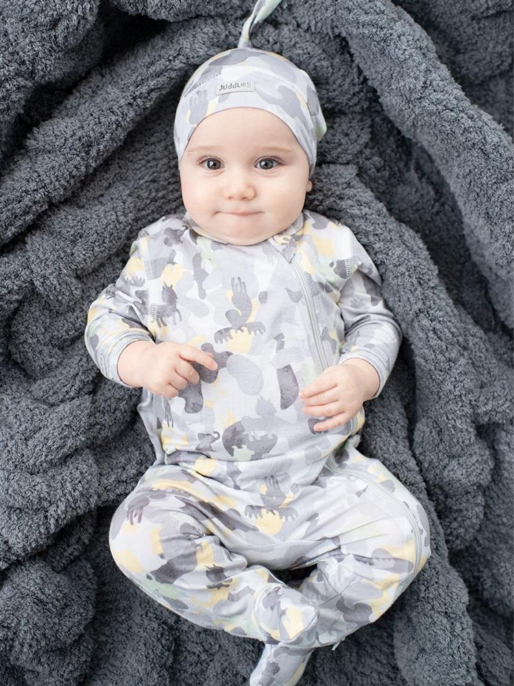 Juddlies - Camoose Bamboo Sleepsuit - Double Zip, Footed & Turnover Hand Cuffs - Grey/Yellow - Stylemykid.com