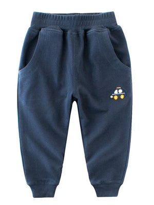Boys Tracksuit Navy Joggers with Car Design - Stylemykid.com