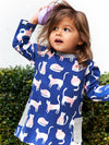 Counting Cats Navy Long Sleeve Girls Dress - Stylemykid.com