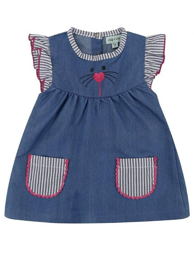 Lilly & Sid Organic Navy Character Baby Dress 0-3 months - Stylemykid.com