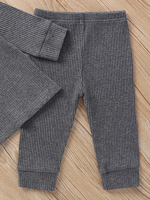 Baby & Toddlers Charcoal Grey Matching 2 Piece Ribbed Button Top & Bottoms Lounge Outfit - Stylemykid.com