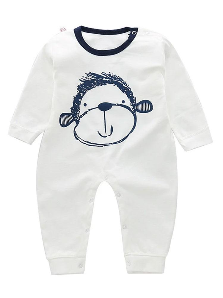 Cheeky Monkey - White Babies Onesie with Monkey Print - Stylemykid.com