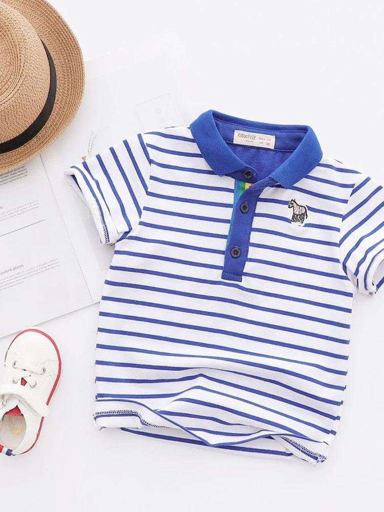 Classic Breton Boys Polo Shirt - Royal Blue and White - Stylemykid.com