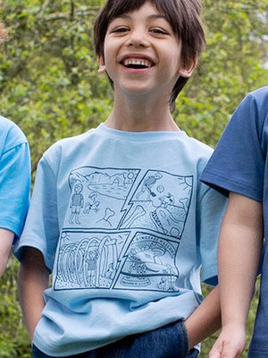 KITE Organic - Light Blue Comic Book T-shirt - Stylemykid.com