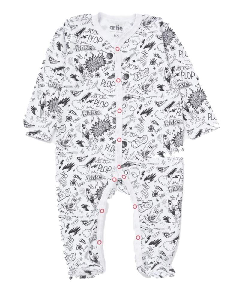 Artie - Pop Comic Black & White Patterned Baby Footed Sleepsuit - From 6 months - Stylemykid.com