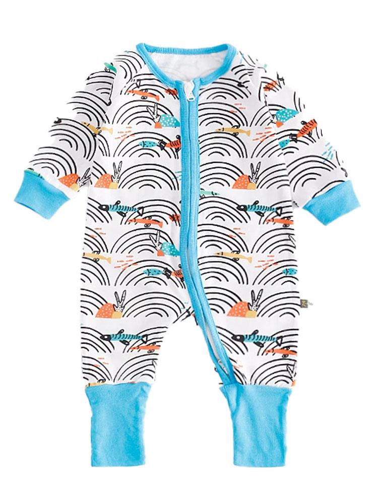 Coral Reef - Multicoloured Cute Baby Onesie with light blue cuffs and trim - 3 - 18 months - Stylemykid.com