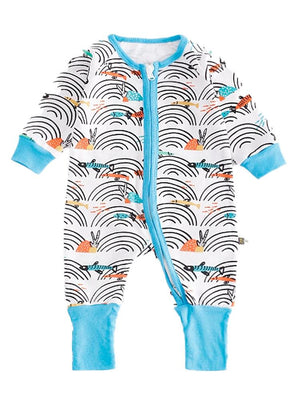 Coral Reef - Multicoloured and Light Blue Cute Onesie with Double Zipper and Cuffs - Stylemykid.com