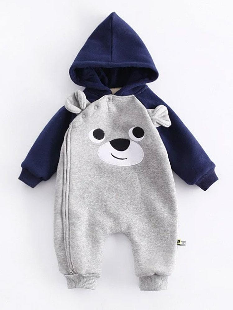 Cosiest Little Bear - Navy Blue and Grey Hooded Onesie Fleece with Bear Ears - Stylemykid.com