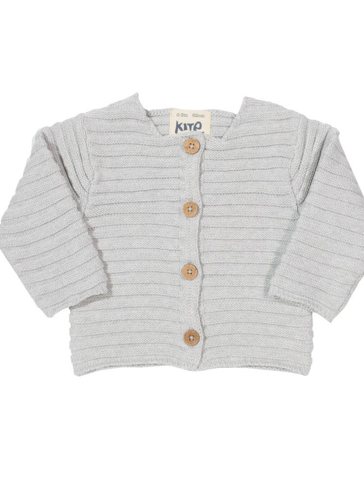 Cosy Knit Grey Organic Cardigan from KITE - Stylemykid.com