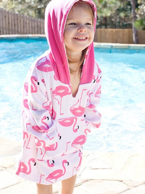 Zoocchini - Terry Bath & Swim Cover up with Character Hood - Franny the Flamingo - Stylemykid.com