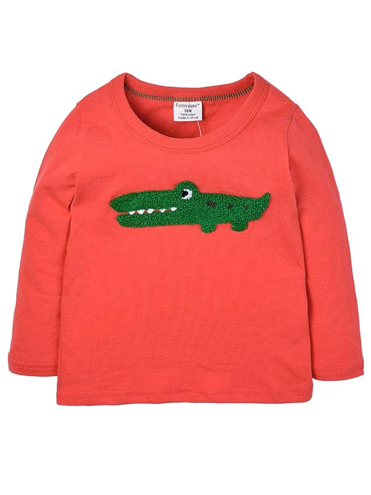 Croc Picture Long Sleeve Red Top with Furry Friendly Crocodile - Stylemykid.com