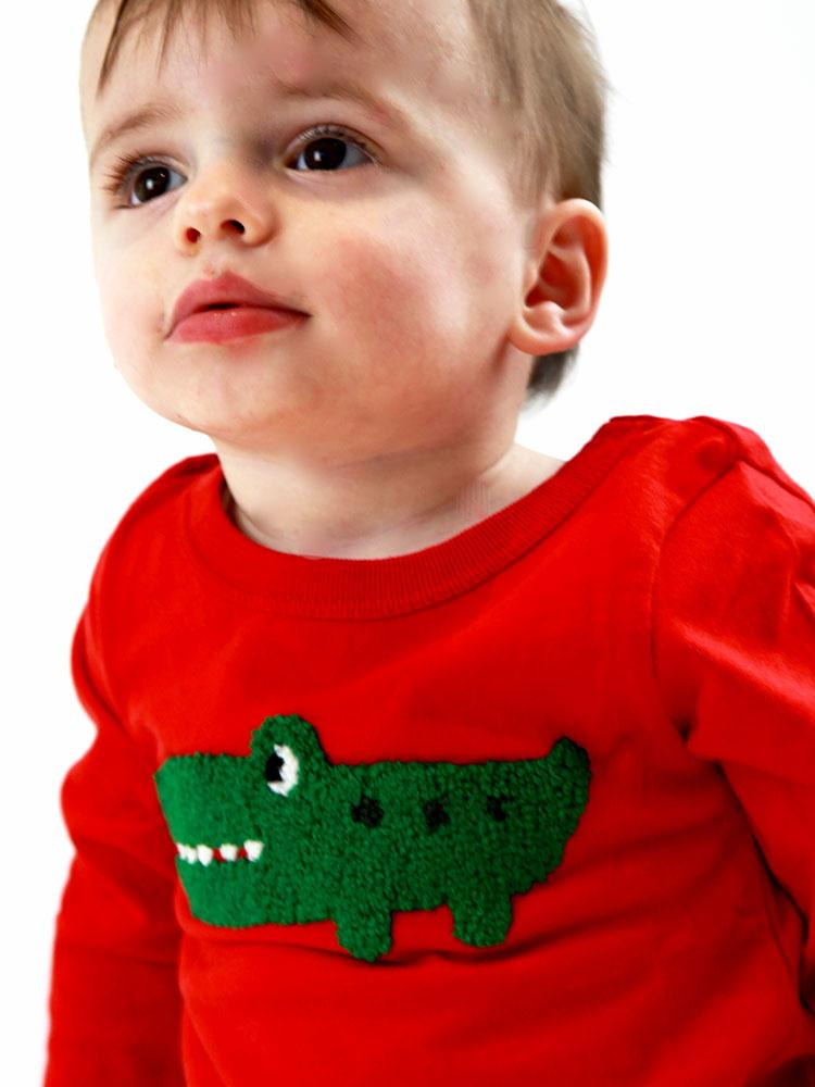 Croc Picture Long Sleeve Top  - Unisex Red - 12 to 6 years - Stylemykid.com