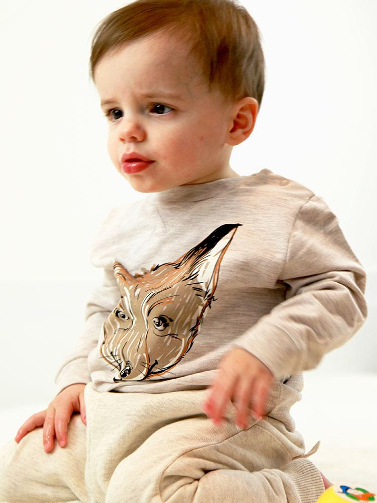 Curious Mr Fox Cream Sweatshirt - Unisex 3 months to 4 years - Stylemykid.com