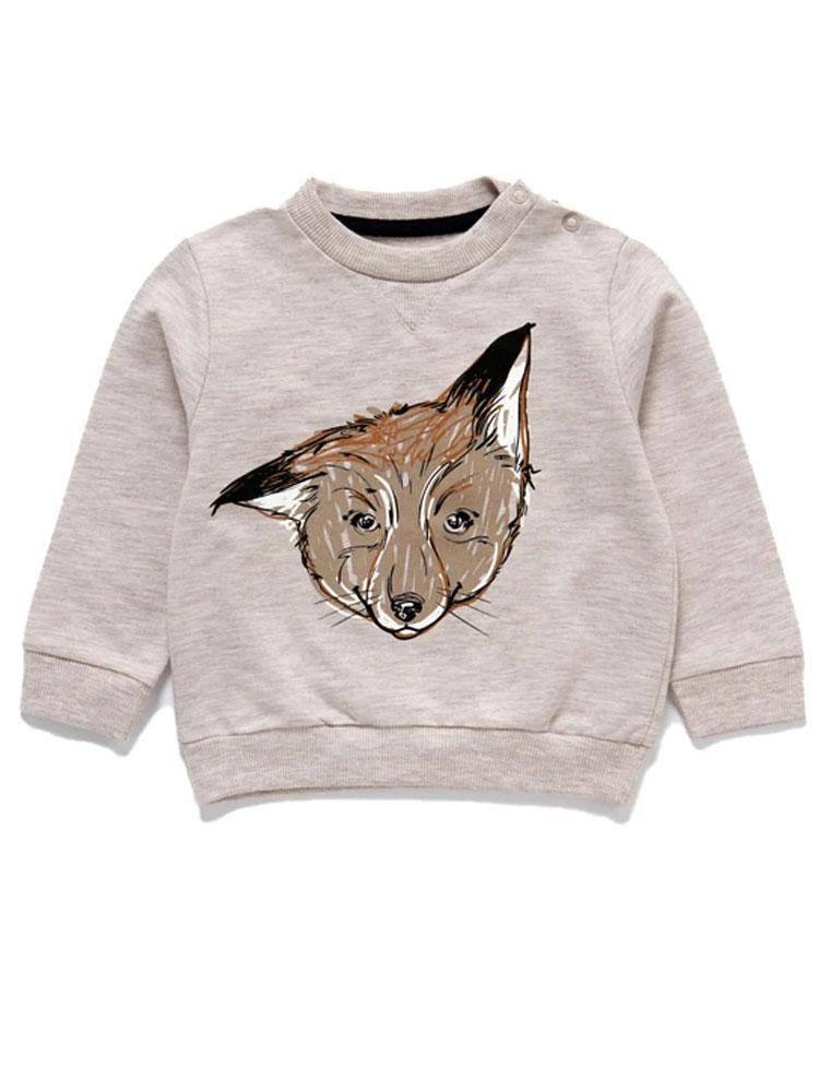 Artie - Curious Mr Fox Cream Sweatshirt - Stylemykid.com