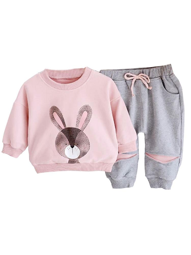 Cute Bunny Pink and Grey Sweatshirt & Bottoms 2 Piece Outfit - Stylemykid.com