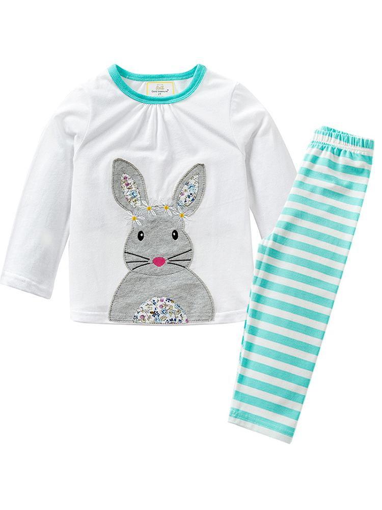 White Bunny Top with Turquoise Blue Striped Leggings - Girls 2 Piece Set - Stylemykid.com