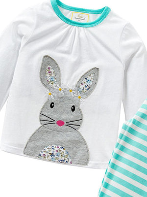 Daisy Chain Bunny - White Bunny Top with Turquoise Blue Striped Leggings - 2 Piece Set - Stylemykid.com