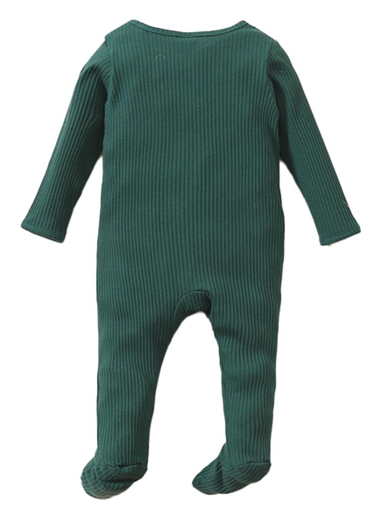 Dark Green Footed Ribbed Baby Zip Sleepsuit - 0-6 Months - Stylemykid.com