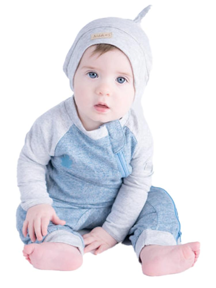 Juddlies - Organic Baby Playsuit Sleepsuit with Hand & Feet Cuffs  - Raglan Collection - Denim Blue - Stylemykid.com