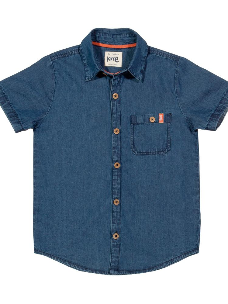 KITE Organic - Boys Blue Denim Short Sleeved Shirt from 2 years - Stylemykid.com