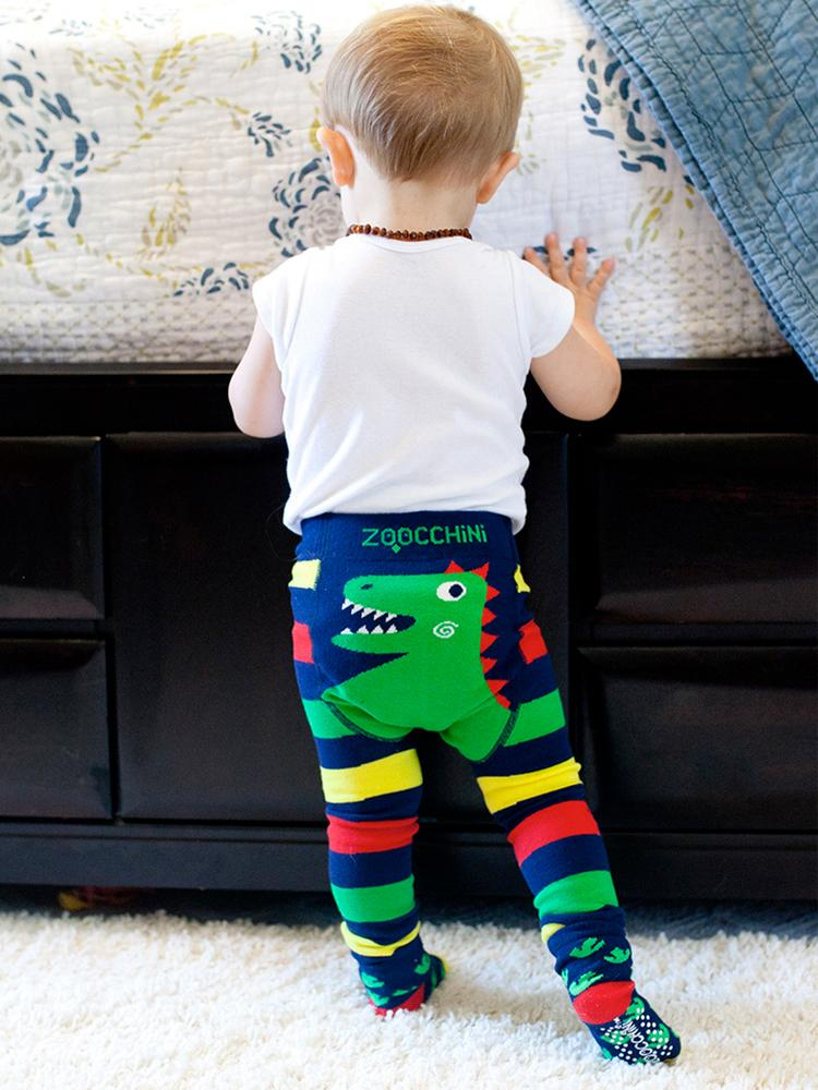 Zoocchini - Baby Leggings & Socks Set - Grip+Easy™ Comfort Crawlers - Devlin the Dinosaur - Stylemykid.com