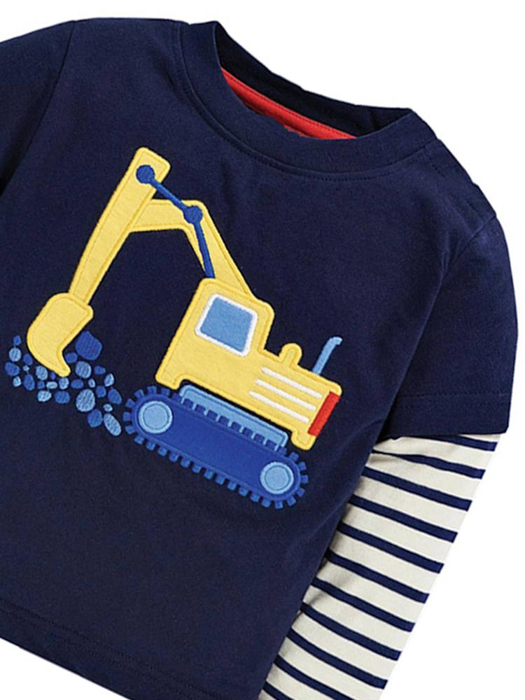Digger Delight! Boys Long Sleeve Navy & White Top - Stylemykid.com