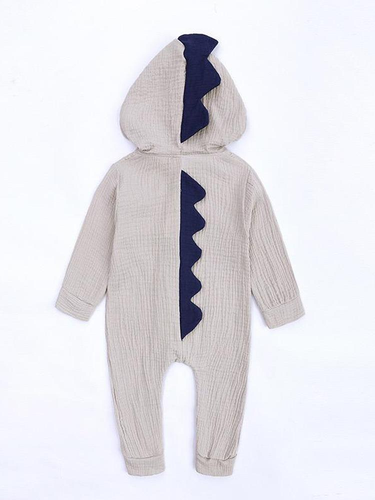 Dinky Dinosaur Diva Hooded Onesie with Spikes - Grey - Stylemykid.com