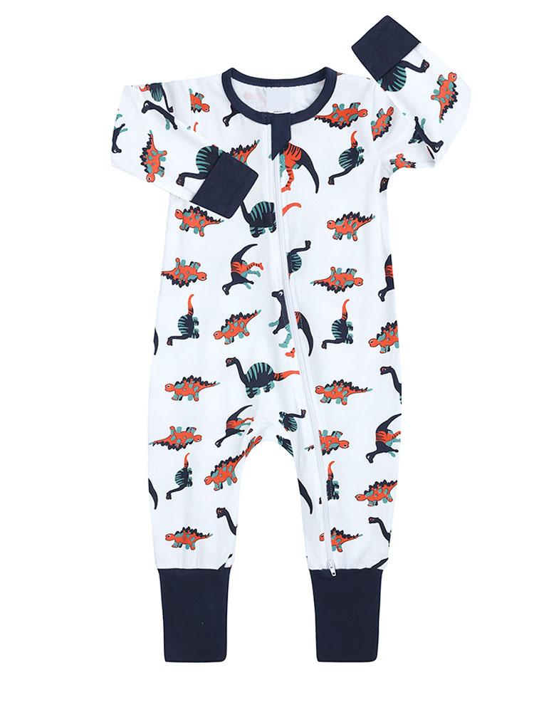 Dinosaur Drama - White Baby Zip Sleepsuit with Turnover Hand & Feet Cuffs - NEW DESIGN - Stylemykid.com