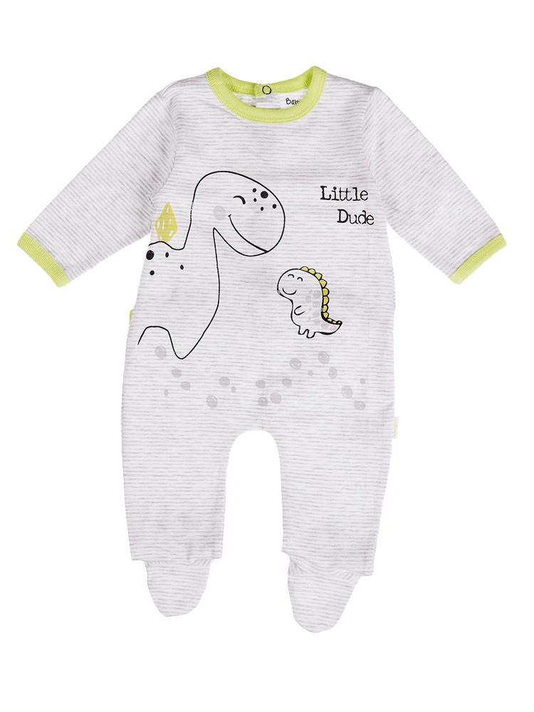 Babybol - Dinosaur Little Dude Grey Stripe Sleepsuit - Stylemykid.com