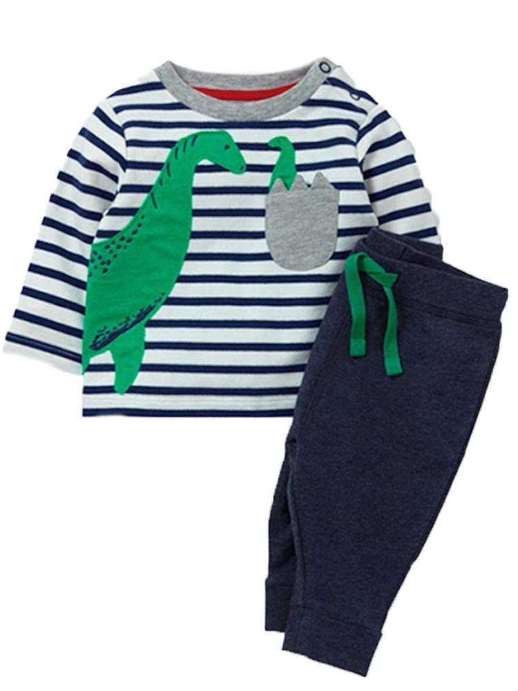 Dinosaur Hatch - Dinosaur Striped Top with Navy Joggers - 2 Piece Set - Stylemykid.com