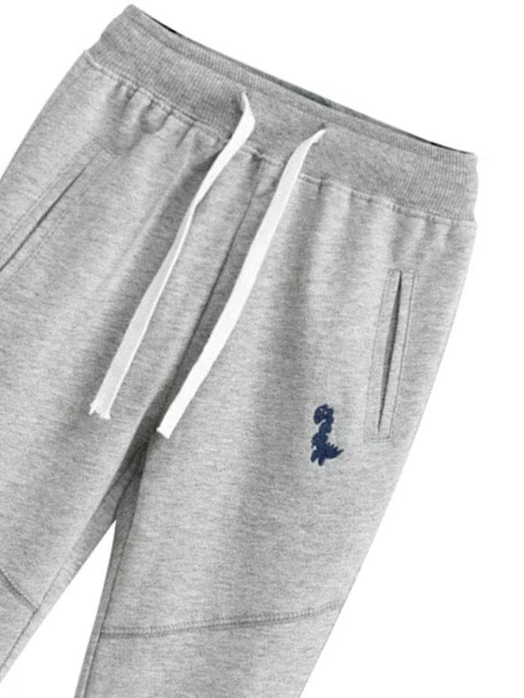 Dino Joggers - Soft Grey Tracksuit Bottoms with Stitched Dinosaur Motif - Stylemykid.com