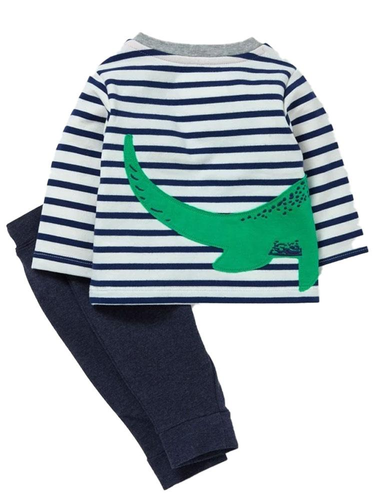 Dinosaur Hatch - Dinosaur Striped Top with Navy Pants Set - Stylemykid.com