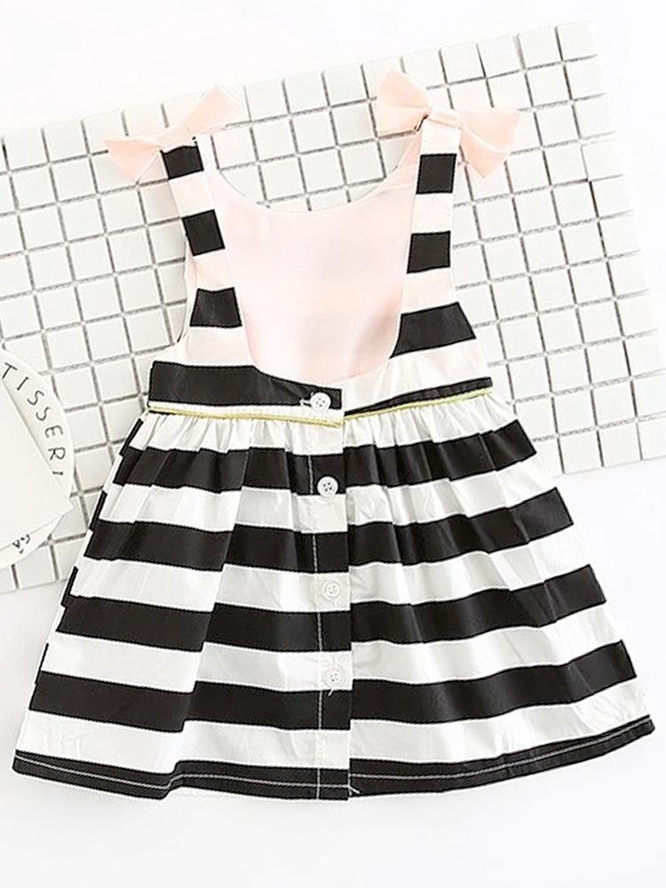 Dip Back Stripes & Bows Dress - Girls Black and White Striped Dress - Stylemykid.com
