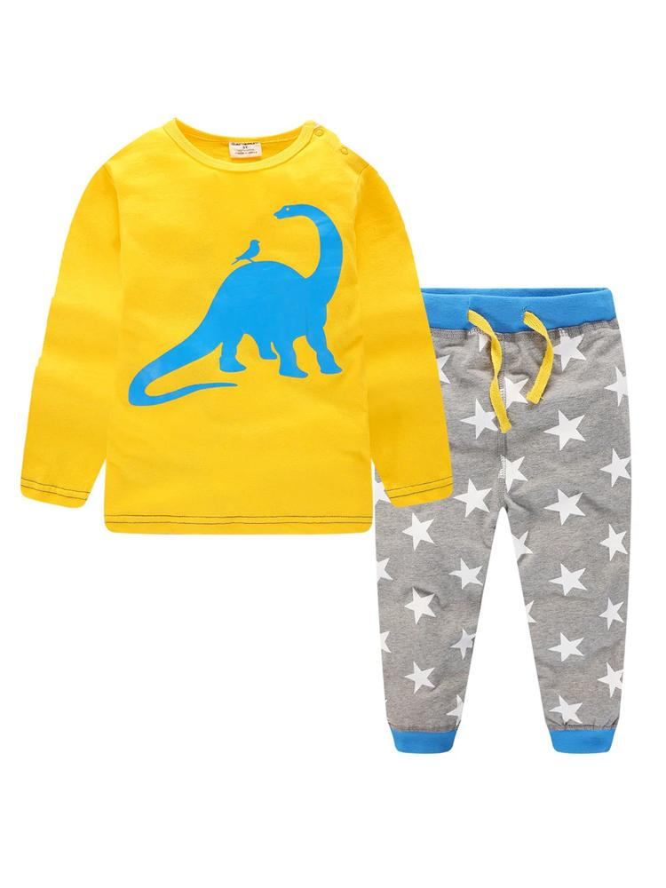 Diplodocus Dude - Boys Yellow Dinosaur top with Matching Grey Star Print Bottoms - Stylemykid.com