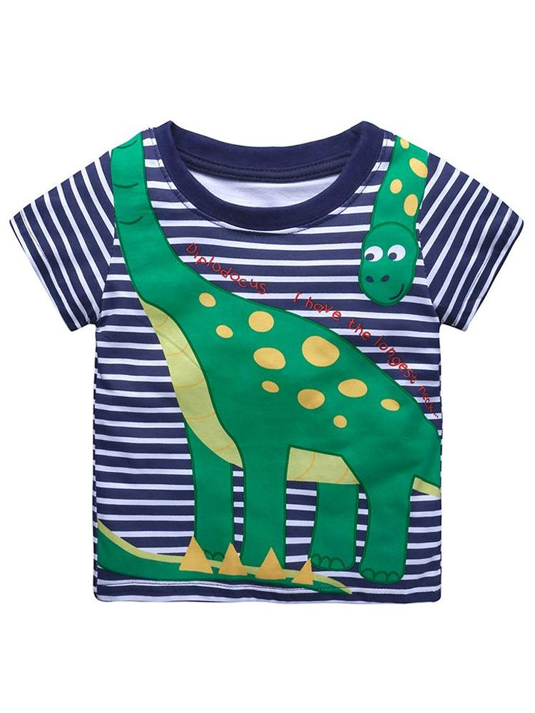 Diplodocus Dude Striped Navy Boys T-Shirt