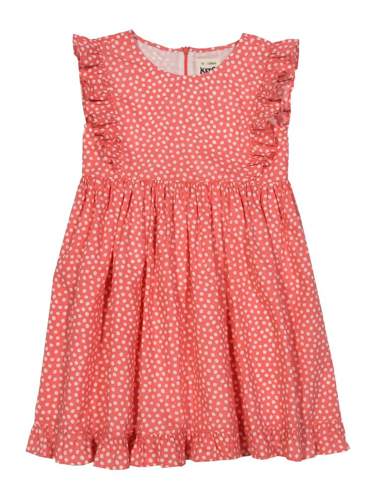 KITE Organic - Coral Red Dotty Girls Frill Dress - Stylemykid.com