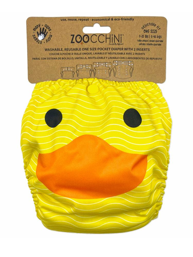 Zoocchini - Washable Reusable Cloth Pocket Nappy with 2 Inserts - Puddles the Duck - Stylemykid.com