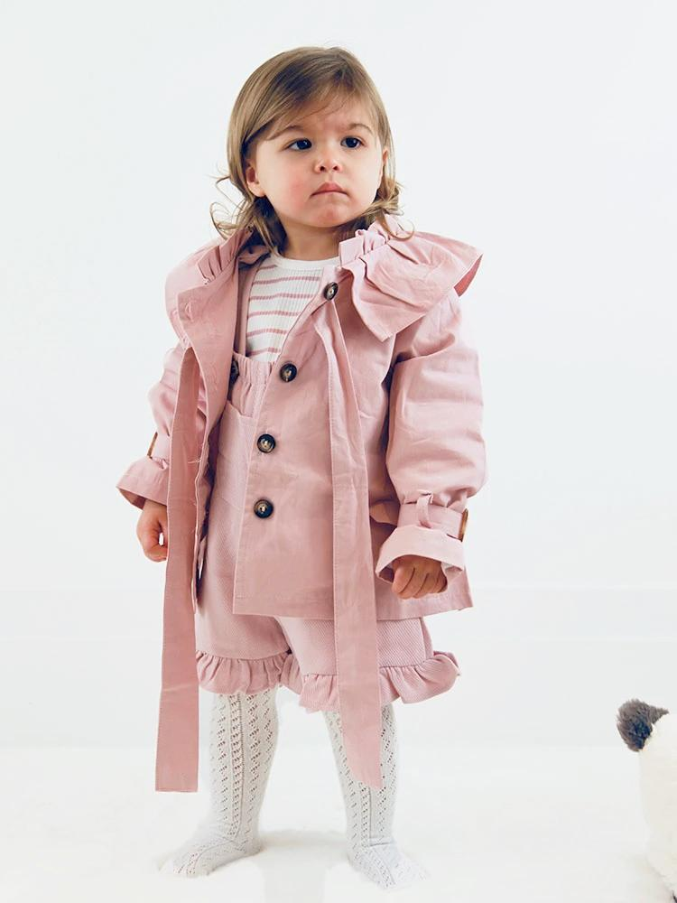 Girls Dusky Pink Mac with Frill Collar - Stylemykid.com