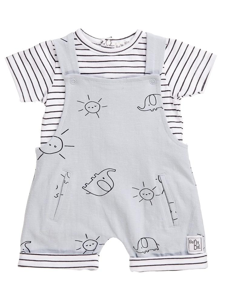 Babybol - Sunshine and Elephants Dungarees and Top Baby 2 Piece Outfit (9-12months) - Stylemykid.com