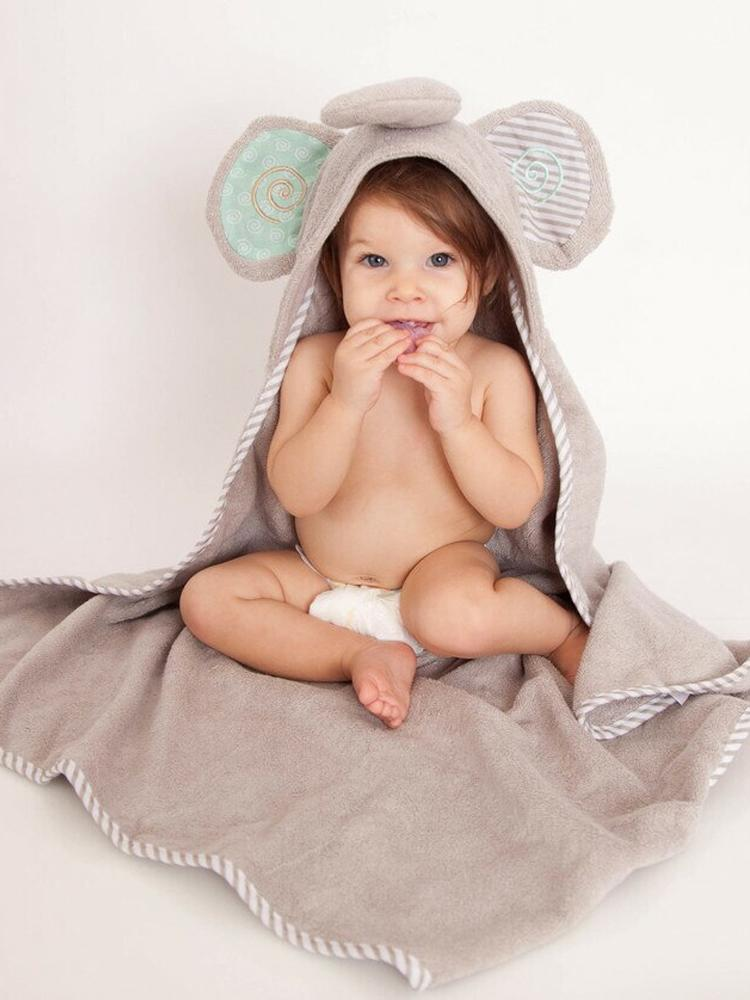 Zoocchini - Animal Cotton Baby Hooded Towels - Ellie the Elephant - 0-2 Years - Stylemykid.com
