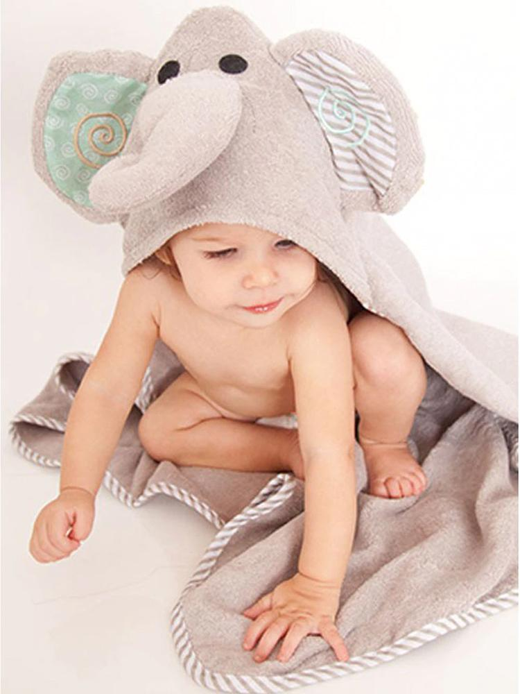 Zoocchini - Animal Cotton Baby Hooded Towels - Ellie the Elephant