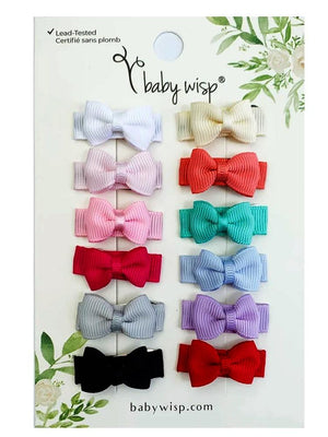 Baby Wisp - 12 pack Snap Bow Clips - Tuxedo Grosgrain Hair Bows - Essential Colours - Stylemykid.com