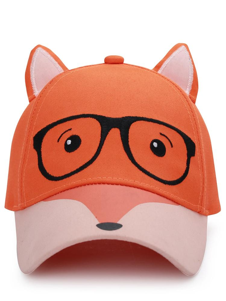 Flapjack Kids - 3D Baseball Cap - Orange & Black Fox with 3D Ears - Stylemykid.com