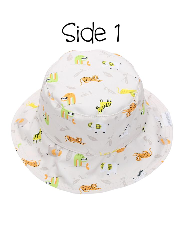 Reversible UPF 50+ Sun Hat - White - Green - Zoo Hat - Stylemykid.com