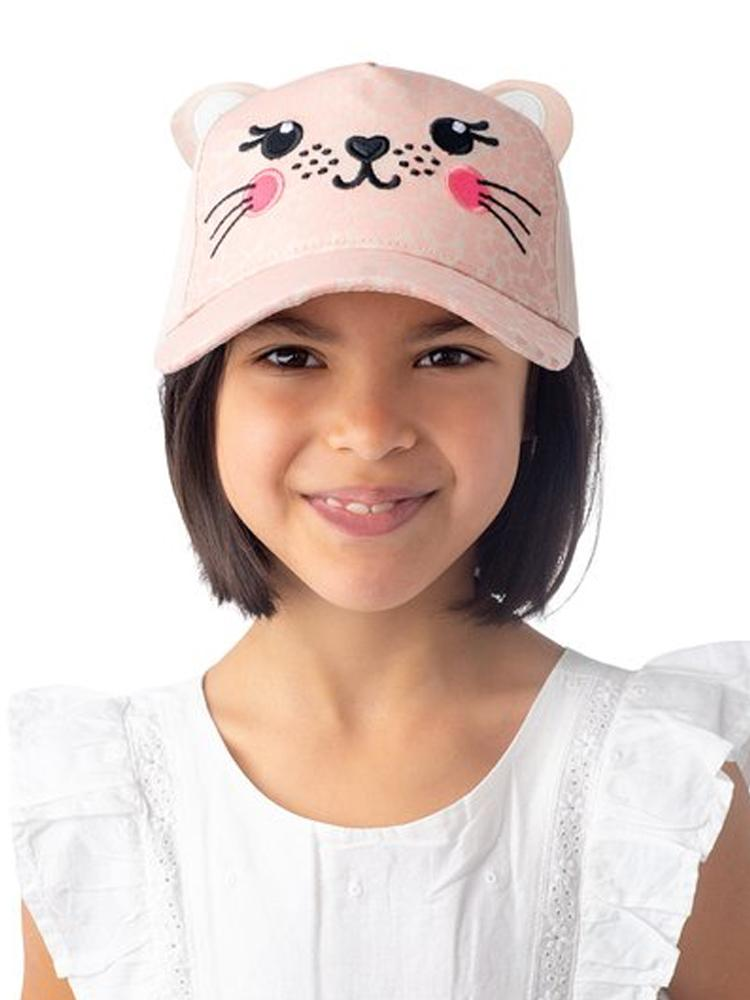 Flapjack Kids - 3D Baseball Cap - Leopard with 3D Ears & Embroidered Face - Pink - Stylemykid.com