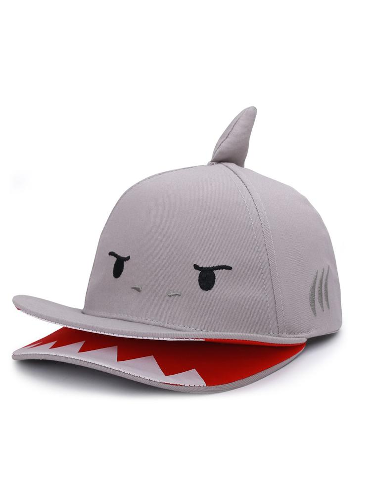 Flapjack Kids - 3D Baseball Cap - Shark with 3D Fin & Open Jaws Visor - Grey & Red - Stylemykid.com