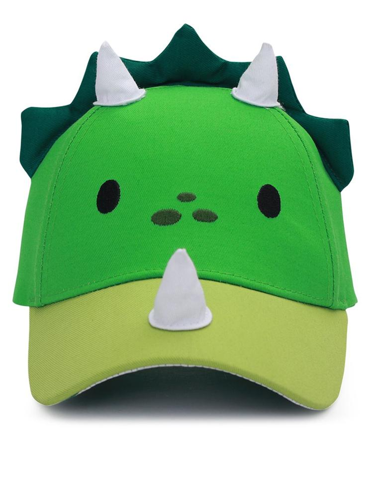 Flapjack Kids - 3D Baseball Cap - Dinosaur with 3D Horns & Spikes - Green & White - Stylemykid.com