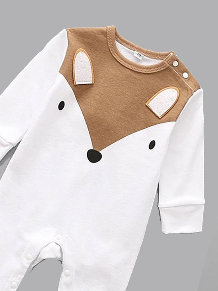 Fab Mr Fox white and tan fox face playsuit - Stylemykid.com