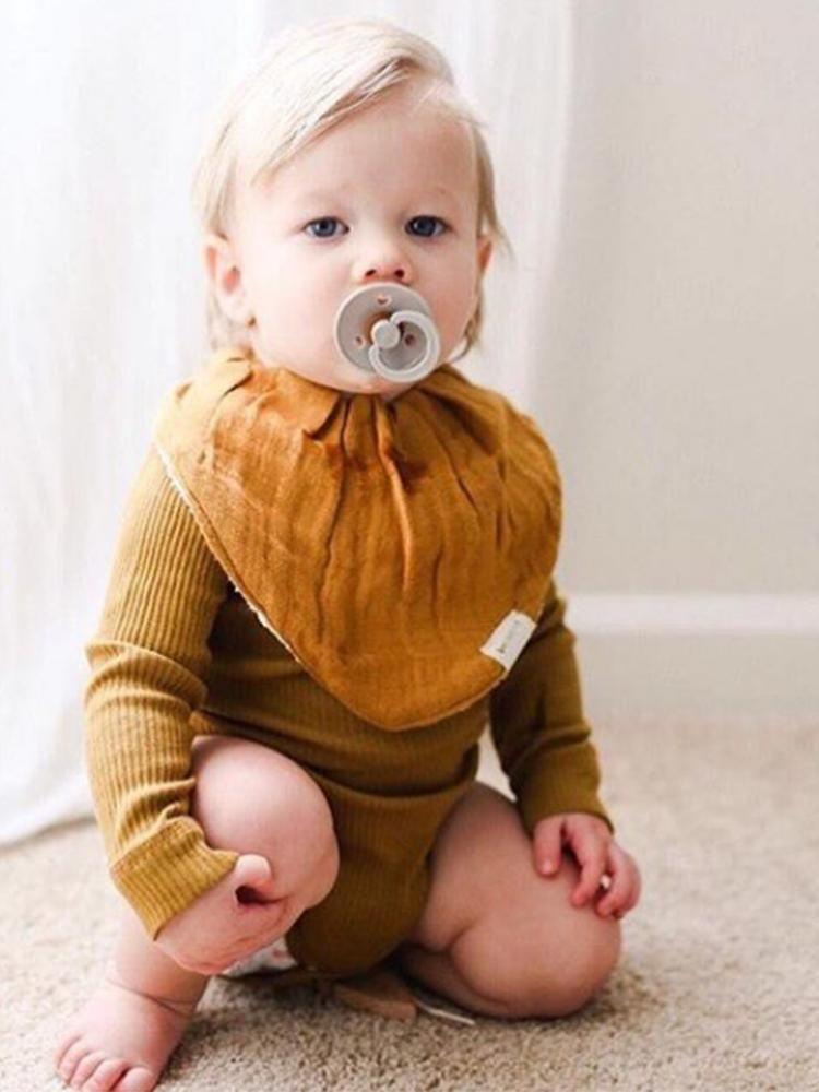 Fabelab - Organic Bandana Bib with Terry Backing - 3 Pack in Autumn Colours - Cinnamon, Orche and White - Stylemykid.com